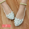 adult flats Wedding Shoes lace ballet flats Women's Shoes appliques Free Shipping