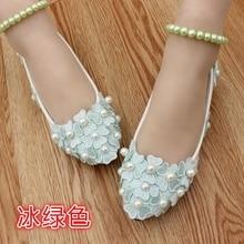 ผู้ใหญ่แฟลตรองเท้าแต่งงานลูกไม้บัลเล่ต์แฟลตรองเท้าผู้หญิงa ppliques
