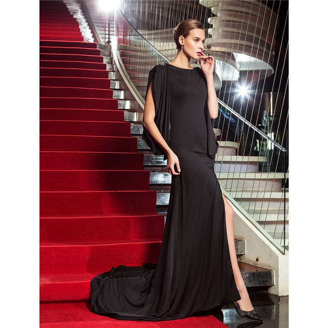 placeholder TS Couture Sheath Column Scoop Neck Jersey Formal Evening  Military Ball Dress with Crystal Detailing Split f46ce879ac33