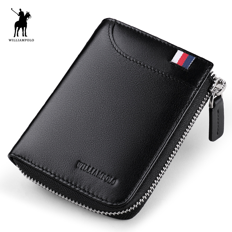 WILLIAMPOLO 2018 Leather Mini Luxury Men Small Wallet Short Slim Purse Card Holder Minimalist Designer Money Dollar POLO253