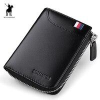 WILLIAMPOLO Leather Mini Luxury Men Small Wallet Short Slim Purse Card Holder Minimalist Designer Money Dollar PL253