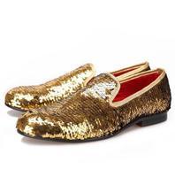 Мужские Блестки без шнуровки Лоферы обувь из натуральной кожи повседневные Роскошные плоский Золотой синий Большие размеры S28