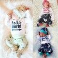 Crianças recém-nascidas letras e veados impresso terno Do Bebê Meninas Meninos Olá Mundo Tops Calças Outfits Set Roupa Romper + Veados