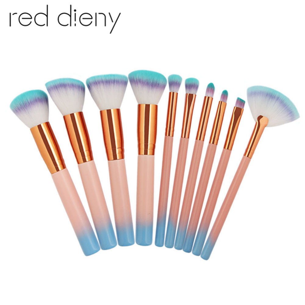 10pcs/set Makeup Brushes Set Pink Blue Soft Nylon Hair Foundation Powder Blush Contour Cosmetic Brushes Beauty Tool Maquilhagem hotsale 10pcs set pink