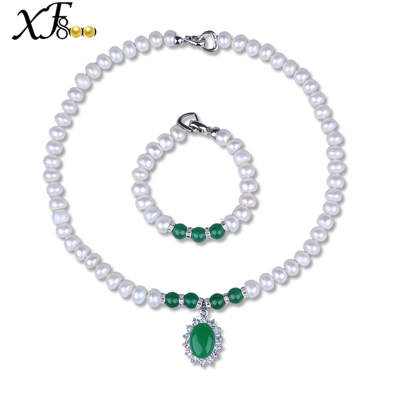 XF800 Natural Pearl Jewelry Sets White Real Freshwater Pearl Necklace & Bracelet Extended 4 Size For choice Women Gift  S89