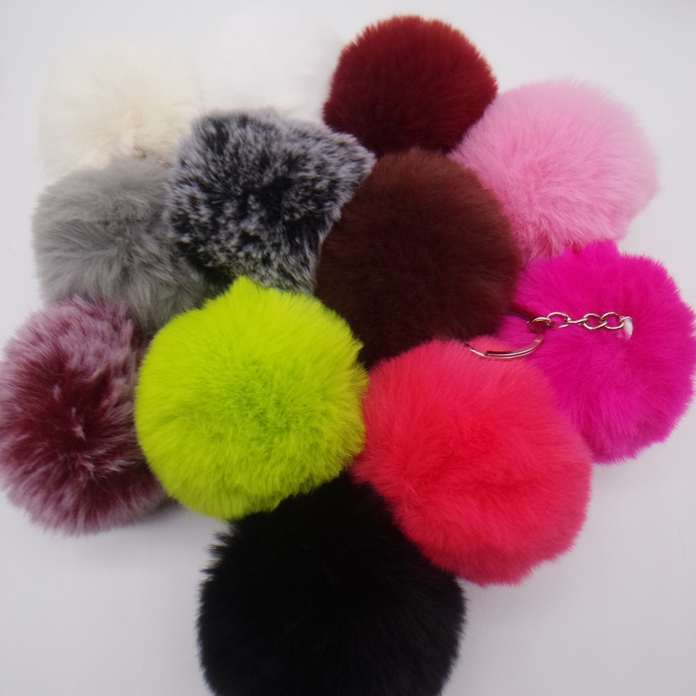 New 8CM 12 Colors Fluffy Rabbit Fur Ball Key Chain Cute Cream Black Pompom Artificial Rabbit Fur Keychain Women Car Bag Key Ring