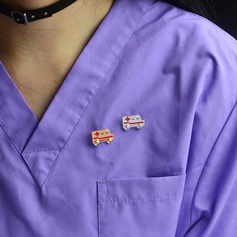 Брошь скорой помощи крошечная металлическая золотой и серебряный цвета красный крест Доктор Медсестры булавка значок булавки на лацканы медицинские ювелирные изделия специальный подарок