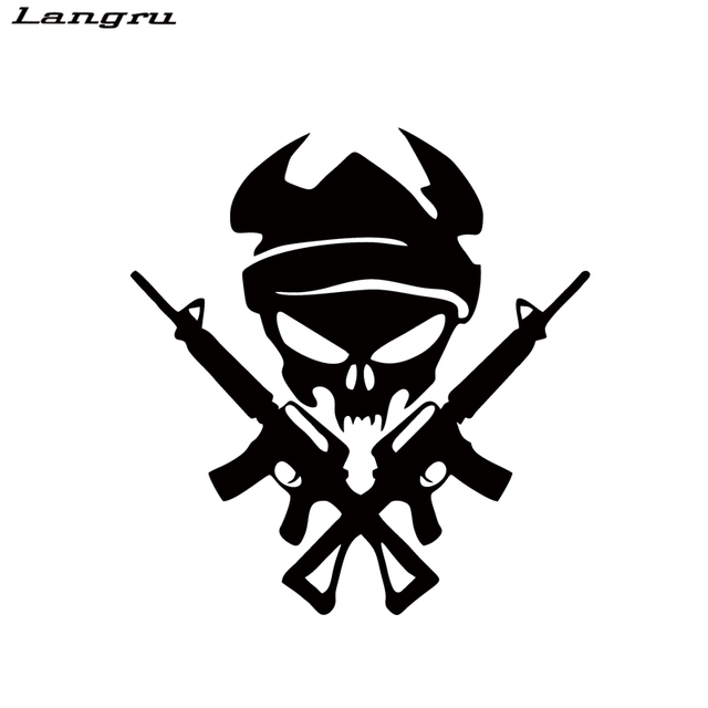 Langru personality viking skull with gun shooting car stying car stickers vinyl graphics decals accessories decorative