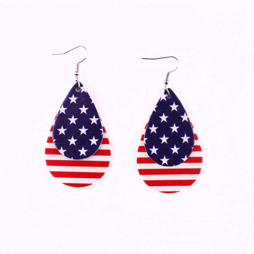 2019 New Arrival American Flag Faux Leather Teardrop Earrings For Women Trendy Jewelry Leaf Dangle Earrings Independence Day