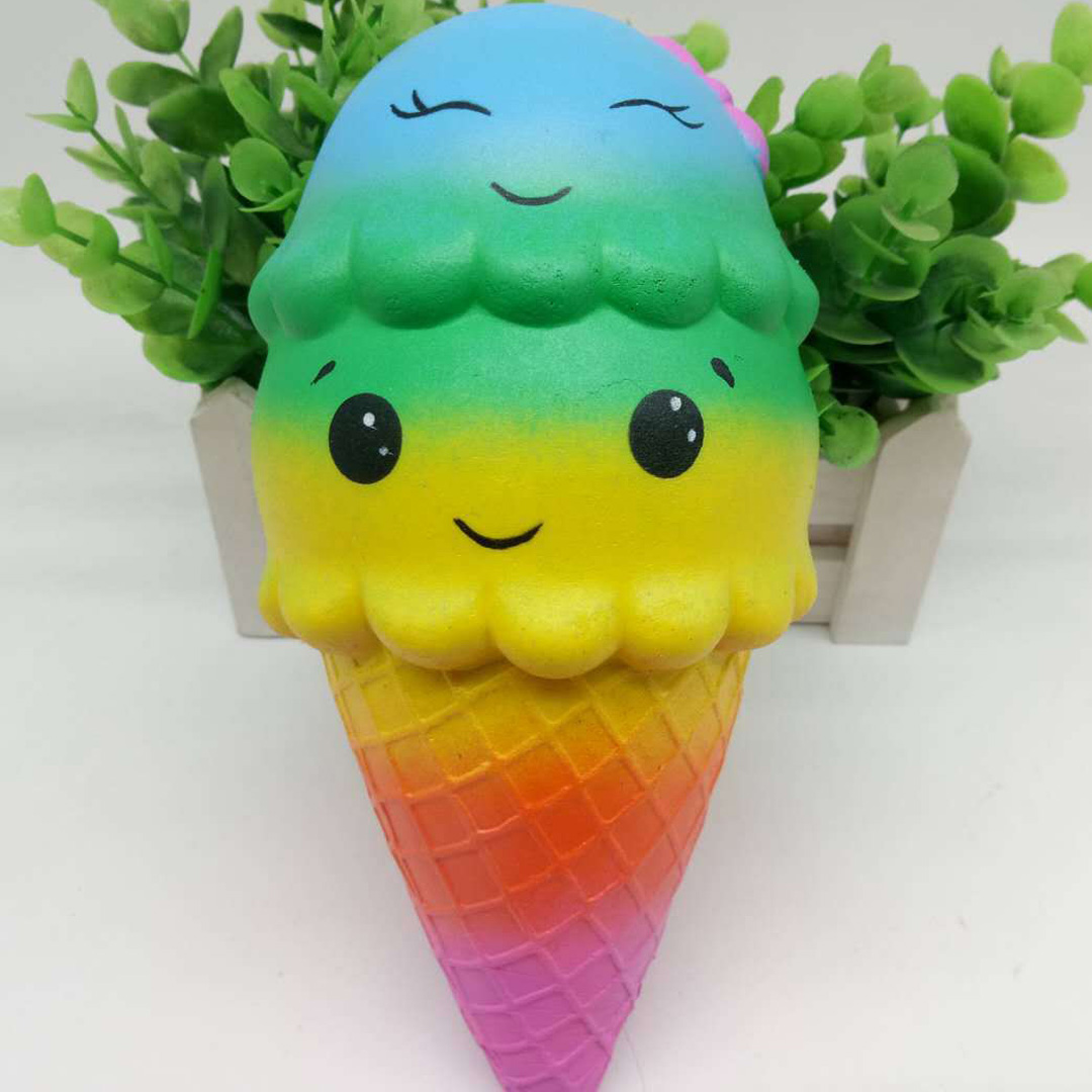 New Squishy ice Cream Cone Jumbo 18cm Slow Rising Soft Squishes Lovely anti-stress Toys Stress Relief Toy squish Decor Gift ZJD