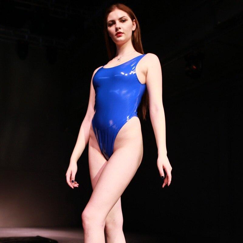 Sexy Latex PVC Bodysuit Catsuit for Women Latex Jumpsuit Costumes High Cut Leotard Bodysuit Iniform Female
