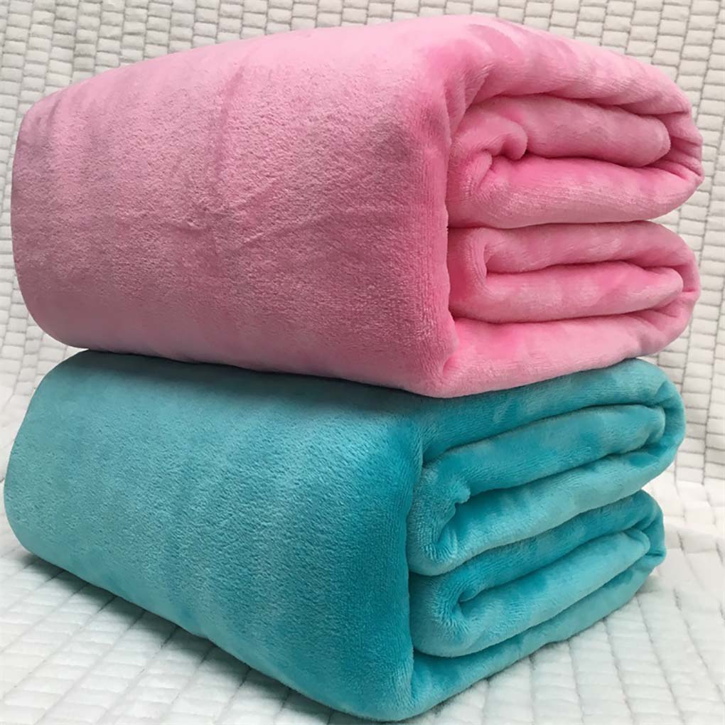 Solid Color Flannel Blanket Bed Car Office Sofa Autumn Winter Warm Carpet Air-condition Room Rugs