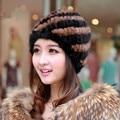 Real Mink Fur Hat For Girls Cap Fur Women Spiral Stripe Design Brand Warm Winter Beaneis Furry Skullies Flufly Caps Females