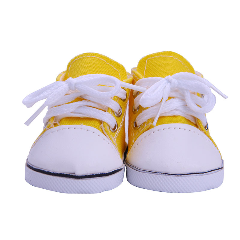 """Orange Sneakers Canvas Gym Shoes for 18/"""" American Girl Doll Clothes"""