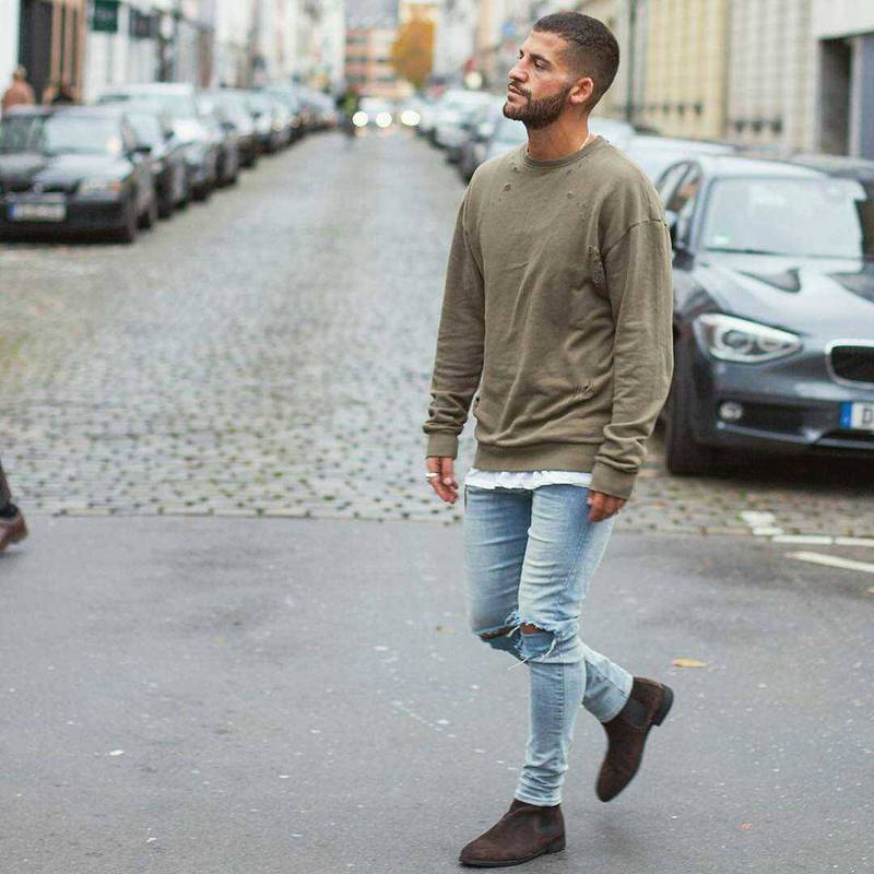 Estilo VINTAGE ropa urbana desgastado sudadera Loose Fit