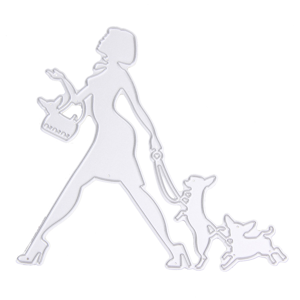 Scrapbook paper aliexpress - Woman And Pets Steel Cutting Dies Stencil Art Embossing Painting Decor For Scrapbooking Paper Card Album