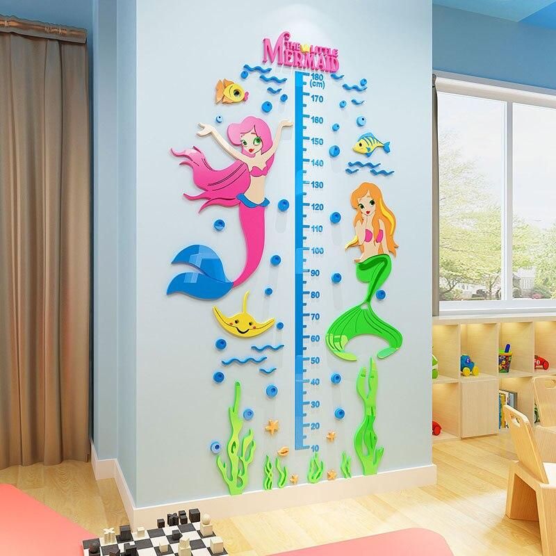 Mermaid Measure Height Sticker Wall Ruler Classic Cartoon