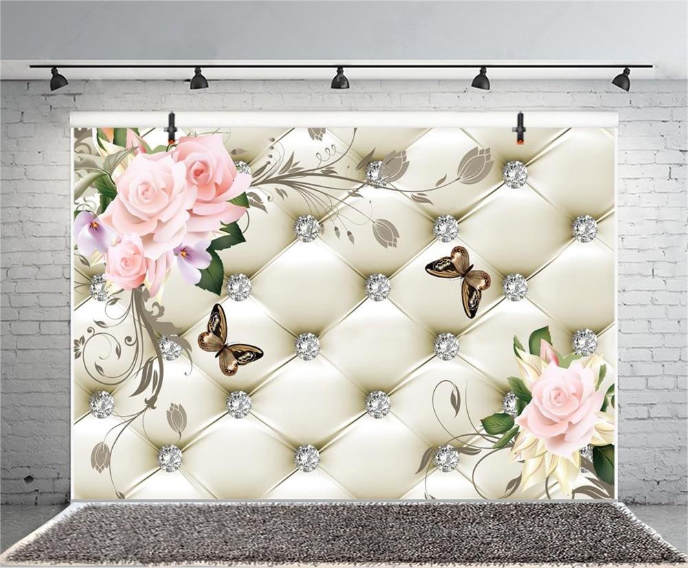 Laeacco Floral Bed Headboard Diamond Butterfly Scene Fundaluri - Camera și fotografia - Fotografie 3