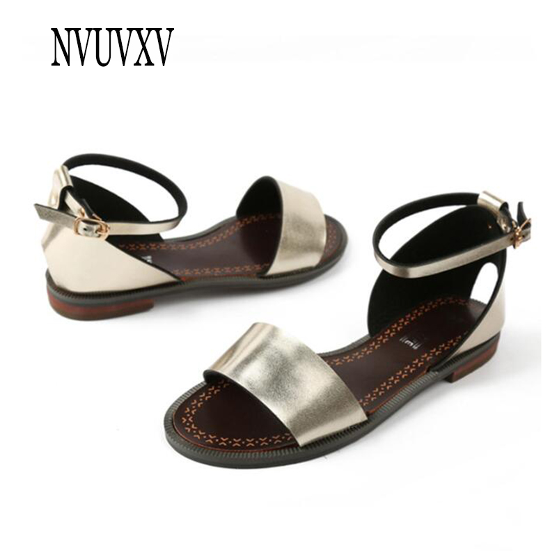 Women Sandals Flat-Shoes Casual Summer New Metal Non-Slip Wild Sh558 Round-Head Wear-Resistant