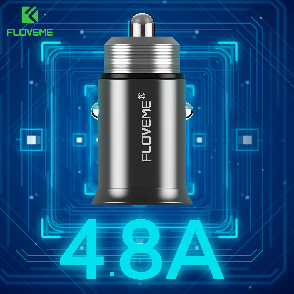FLOVEME USB Car Charger 5V/4.8A Dual Port Car-Charger For iPhone Samsung Xiaomi S8 X Phone Charger Mini USB Adapter Car Charging