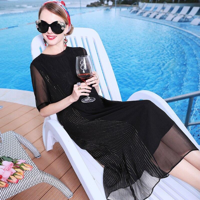 Robe Noir Noir A Femmes Deux Couleurs Party Nouvelles Lâche Courtes Broderie Soie ligne À Manches blanc D'été De Beach Blanc 2019 n0kXZ8PwNO