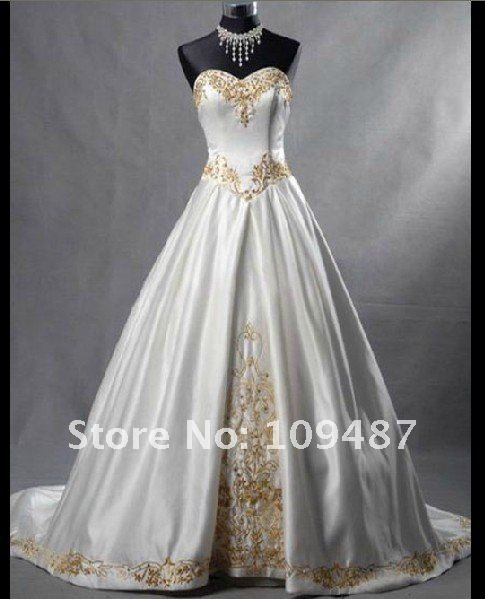 New Por Gold Embroidered Satin Tail Wedding Dress In Dresses From Weddings Events On Aliexpress Alibaba Group