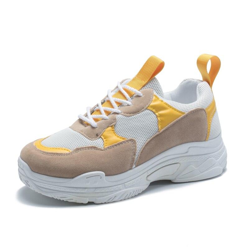 Occasionnels Semelles Nouvelle Loisirs Souple Femmes À Baskets attaché Vulcaniser jaune De Chaussures Épaisses Rouge Croix Blanc Lacent Appartements Dame 2019 PwqnREY