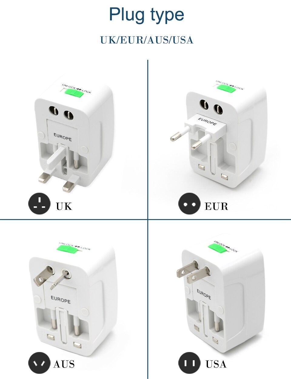 Universal Worldwide Adapter Electric Socket AU UK US EU Plug Adaptor Travel Wall Charger AC Power Option 2 USB Charging Port (3)
