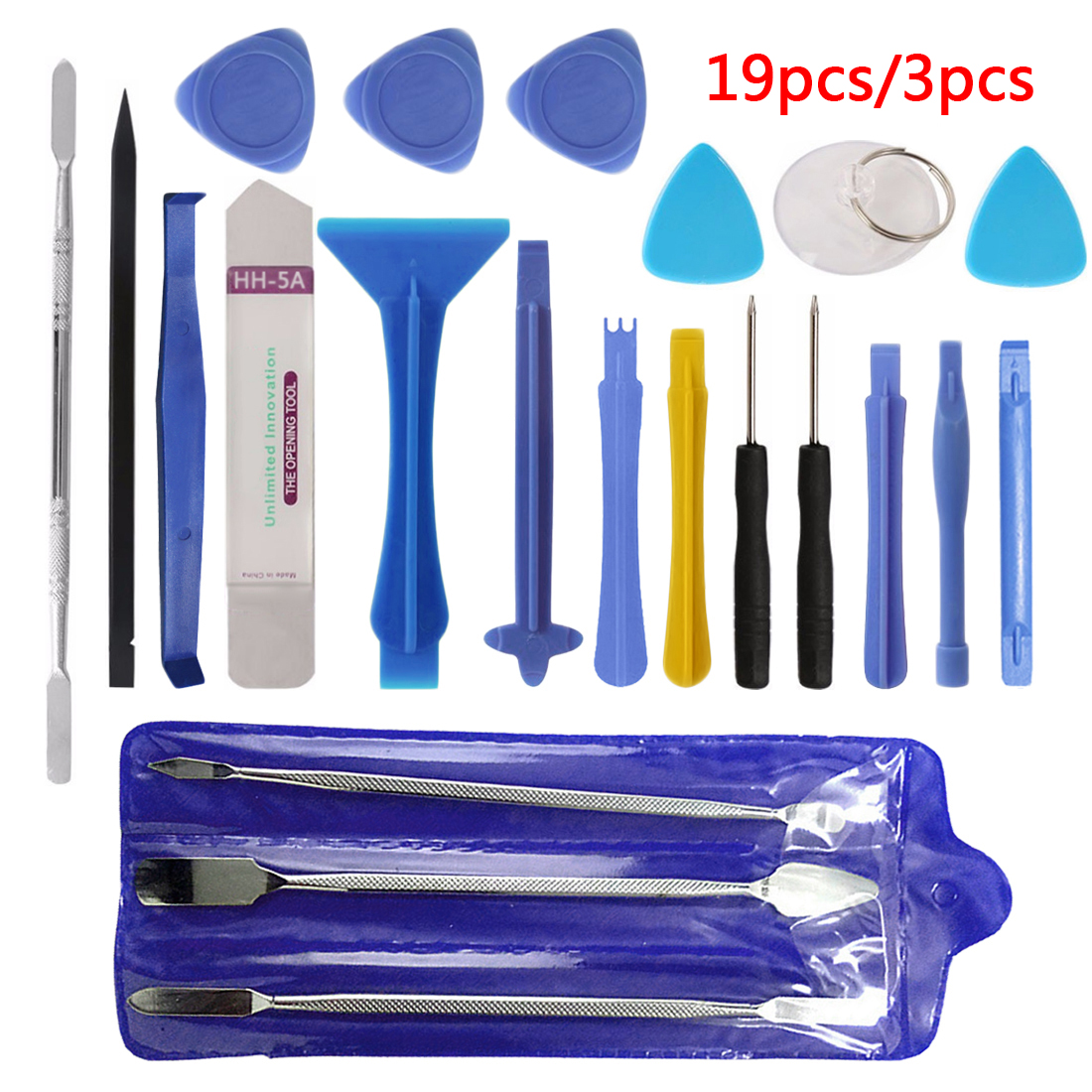 Hand Tool Set 3pcs/19pcs Repair Tool Kit Opening Tool Metal Pry Bar Smartphone Screen Disassemble Tools for iPhone Tablet PC 3pcs set ferramentas smartphone tools metal spudger mobile phone laptop tablet repairing opening tools