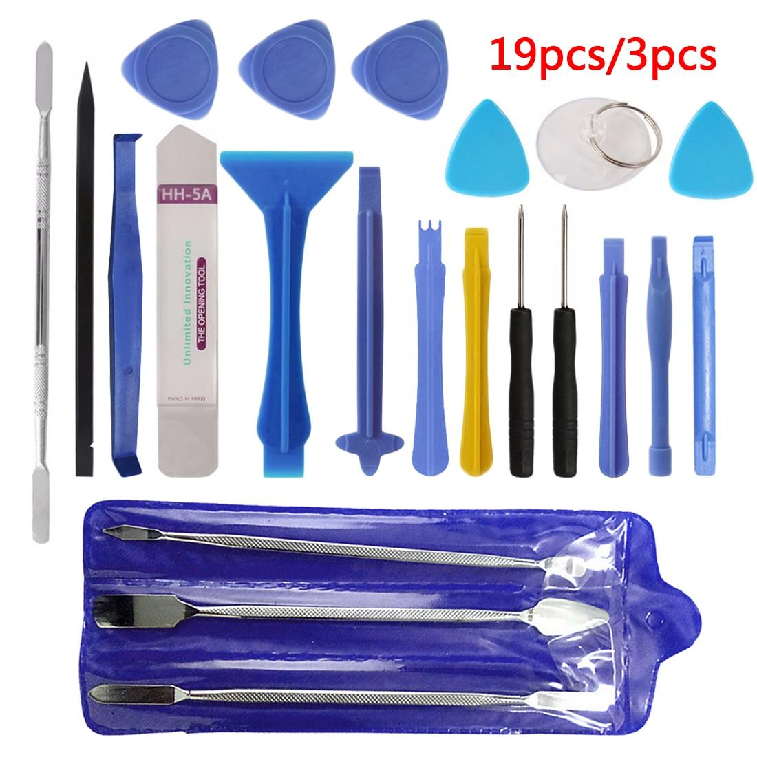 Hand Tool Set 3pcs/19pcs Repair Tool Kit Opening Tool Metal Pry Bar Smartphone Screen Disassemble Tools for iPhone Tablet PC