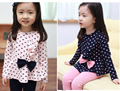 2017 New Girls Polka Dot T Shirt With Bow Navy Blue Pink Baby Girls Tops Tees Children Clothing Kids Shirts Kids Clothes Brand