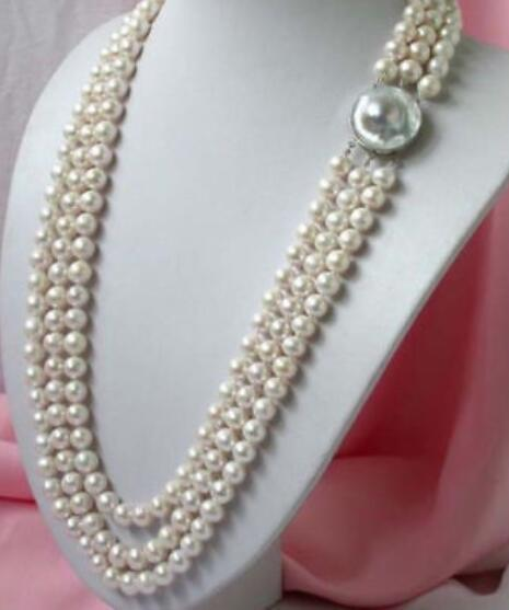 "Beautiful 3row 8-9 MM white pearl necklace 18""-20"""