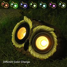 Solar LED Light Multicolor Changing, Owl Wireless Wall for Garden, Patio and Pathway