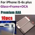 10 pcs fechar original Frente Outer lente de Vidro com Moldura do Quadro + OCA optical limpar adesivo para iphone 5 5s 6 6g 6 s plus 7 7 plus
