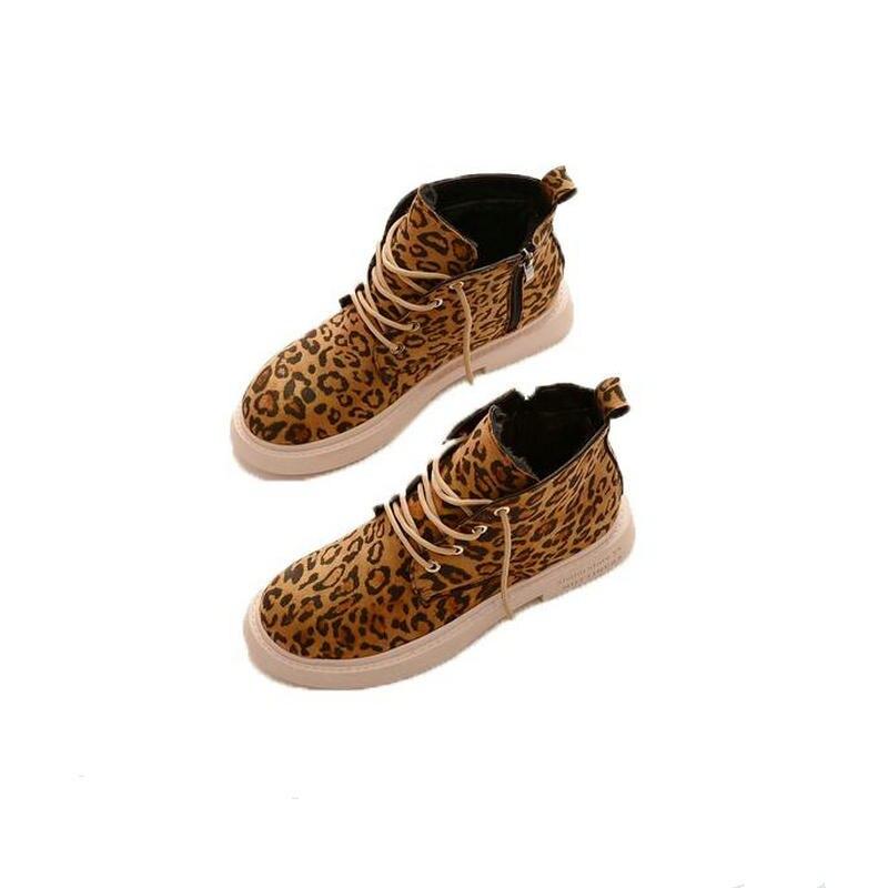 Fashion Lace Up Low Heel Sewing Flock Platform Ankle Boots Comfortable Fur Warm Leopard Print Shoes