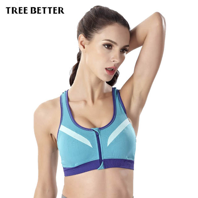 55f6379c1ff0d Online Shop Women Sports Bra Wirefree Zipper Padded Push Up Shockproof bar Yoga  Running Croped Top Gym Athletic Underwear Girls Fitness Bras