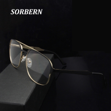 SORBERN Pilot Style Women Men Eyeglasses Alloy Metal Glasses Retro Optical Frames Ultralight Spectacles Eyewear High Quality