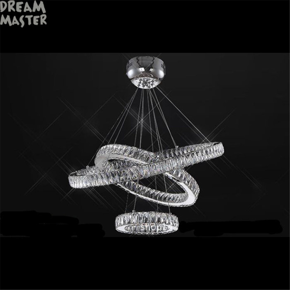 Modern led chandeliers long crystals diamond ring led lamp stainless modern led chandeliers long crystals diamond ring led lamp stainless steel hanging light fixtures cristal led lustre chandelier in chandeliers from lights arubaitofo Image collections