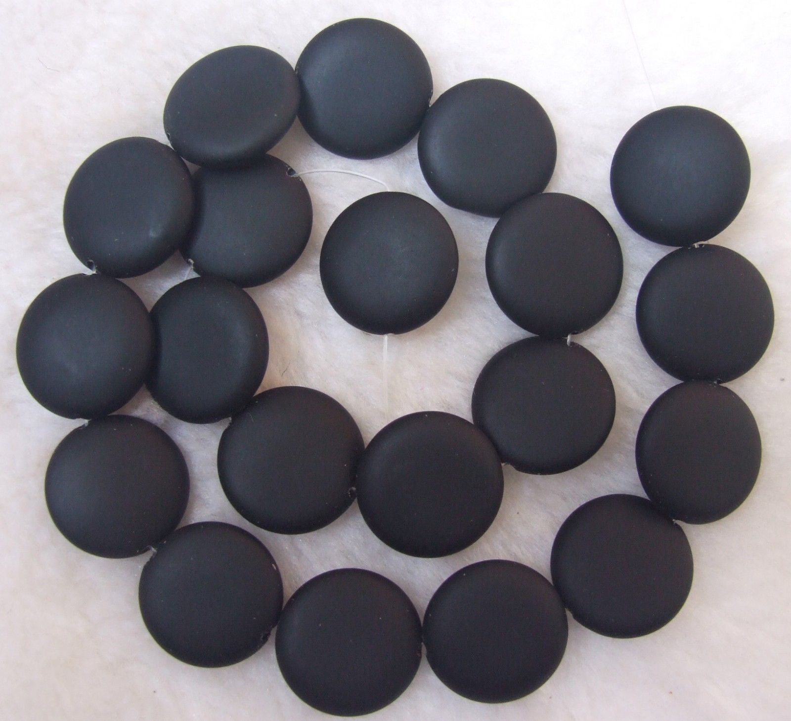 schwarz 1 Onyx 8mm Rund BOX 3 flach// black