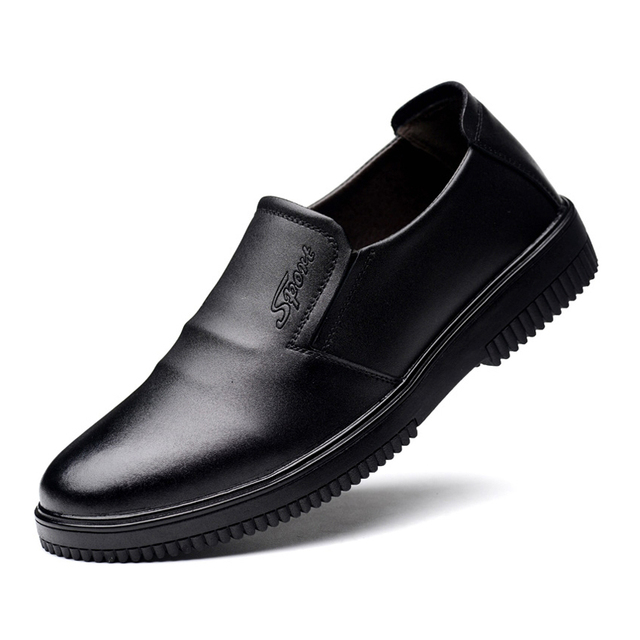 ecc6c0768f7384 Black Leather Men s Chef Shoes Waterproof Oil-Resistaint Anti-Slip Kitchen  Work Shoes Comfortable Safety Cook Footwear