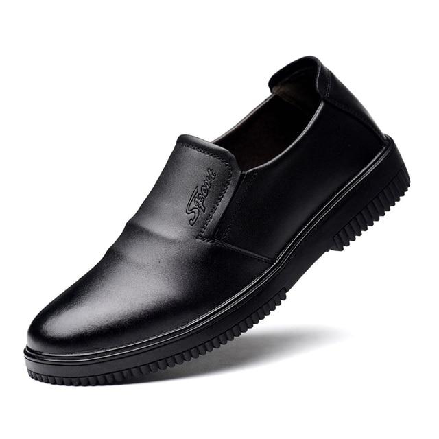 Keuken Werkschoenen.Zwart Lederen Mannen Chef Schoenen Waterdicht Olie Resistaint