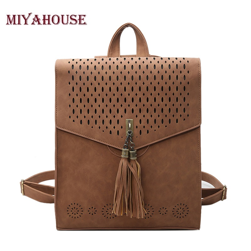 Miyahouse Women Backpacks Fashion PU leather Backpack School Bags For Girls Shoulder Bag Tassel Hollow Out Small Backpack