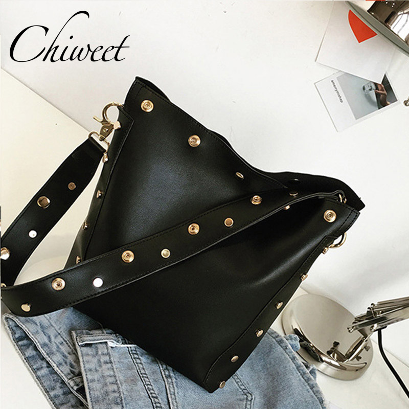 Fashion Women Rivet Bucket Bag Female Brown Vintage Leather Handbags Brand Casual Large Shoulder Messenger Bags Ladies Hand Bags 2017 fashion women bag rivet studded shoulder bag vintage style pu leather handbags female crossbody messenger bags tote jxy769