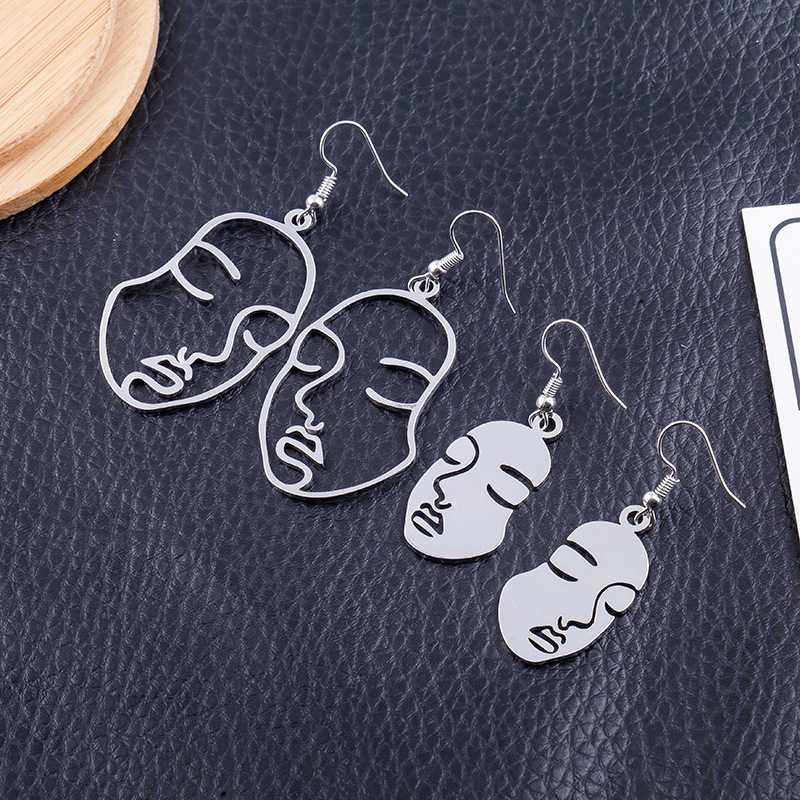 New Design Face Earrings For Women Creative Hollow Exaggerated Abstract Fashion Korean Style Ear