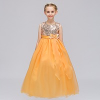 Free shipping Sleeveless Sequined long flower girl dresses Pageant dresses for girls Formal dress 2019