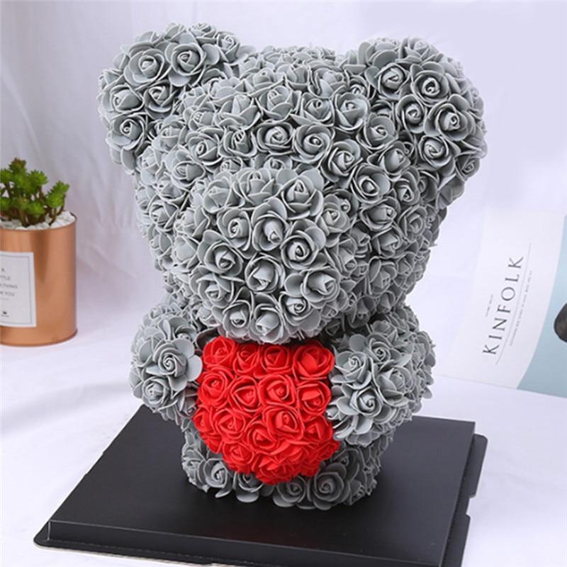 Искусственные цветы розы Медведь собака кролик Мопс юбилей день Святого Валентина подарок на день рождения мать подарок Свадебная вечеринка украшение - Цвет: 40CM Grey Stand Bear