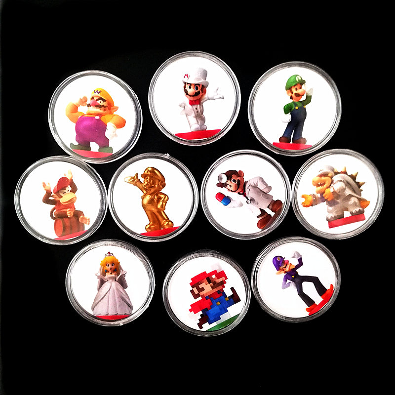 Full Set 10Pcs NFC Tag Super Mario Odyssey Game Card For Amiibo Card Collection Coin Tag Ntag215 Prined Sticker NS Switch Wiiu