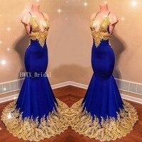 Золотые кружева длинное вечернее платье 2019 Холтер V шеи Сексуальная Русалка Королевский Синий Атлас Африканский Арабский Вечерние платья д