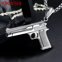 New Men S Stainless Steel Gun Pendants Necklaces Black Gold White Men Punk Jewelry Necklace Trendy