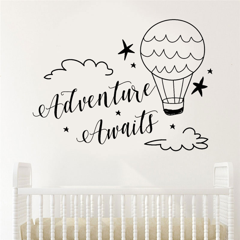 Adventure Awaits Wall Decal Quote Vinyl Home Decor Nursery Clouds And Hotair Balloons Travel Decal Boys Baby Room Sticker BO61